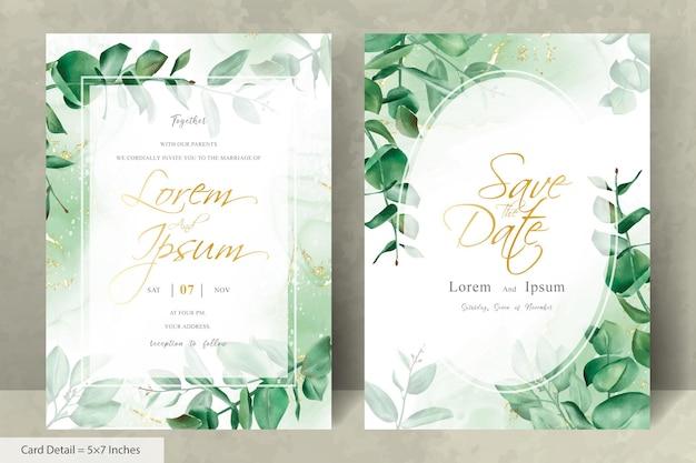Grüne hochzeitseinladungsschablone mit handgezeichnetem eukalyptus