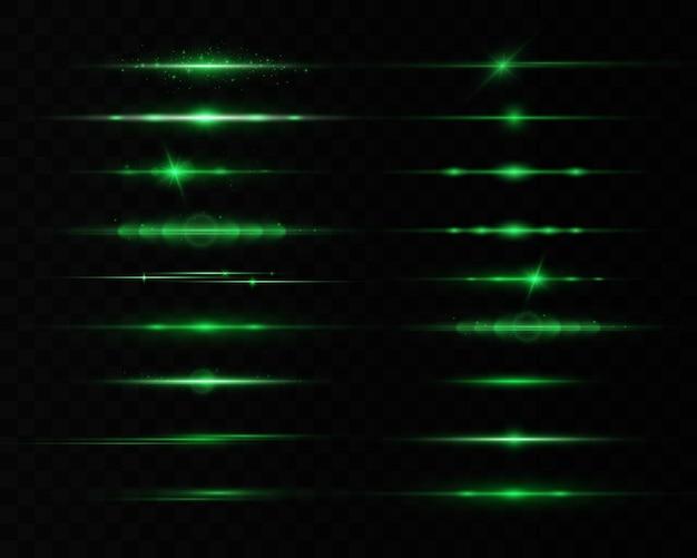 Grüne horizontale linseneffekte eingestellt, laserstrahlen