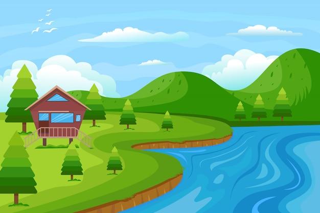Grüne hügel-landschaftsillustration