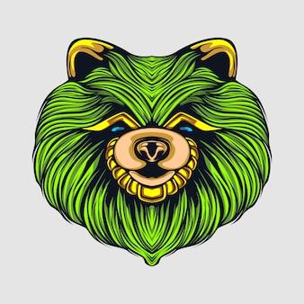 Grüne hundeillustration