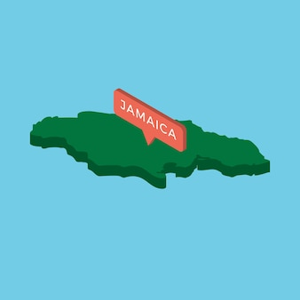 Grüne isometrische karte des landes jamaika mit zeiger