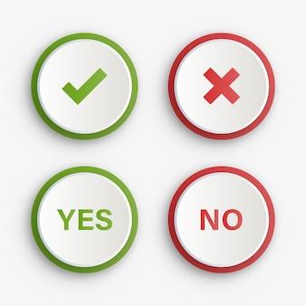 Grüne ja- und rot-nein-häkchen-schaltflächen oder genehmigte und abgelehnte symbolsymbole