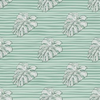 Grüne konturierte doodle monstera blätter drucken nahtloses muster. blau gestreifter hintergrund. dekorative kulisse für stoffdesign, textildruck, verpackung, abdeckung. vektor-illustration.