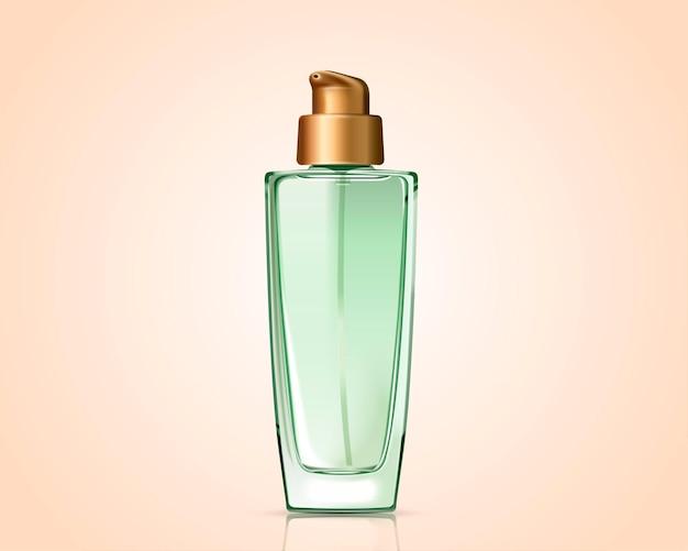 Grüne kosmetikflasche lokalisiert auf teintoberfläche im 3d-stil