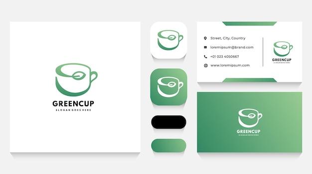 Grüne kräutertasse logo vorlage und visitenkarte