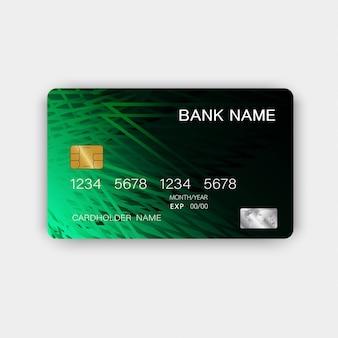 Grüne kreditkarten-design. mit inspiration aus dem abstrakten.