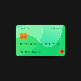 Grüne kreditkartenvorlage mit farbverlauf welle und bearbeitbaren text