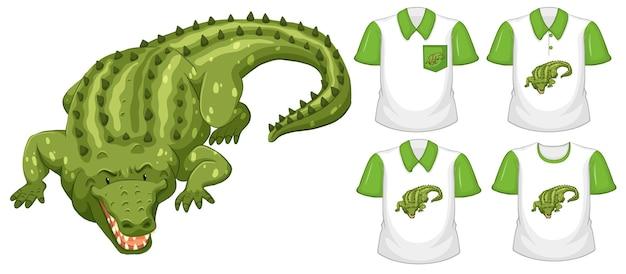 Grüne krokodilkarikaturfigur mit vielen arten von hemden auf weißem hintergrund