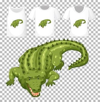 Grüne krokodilkarikaturfigur mit vielen arten von hemden