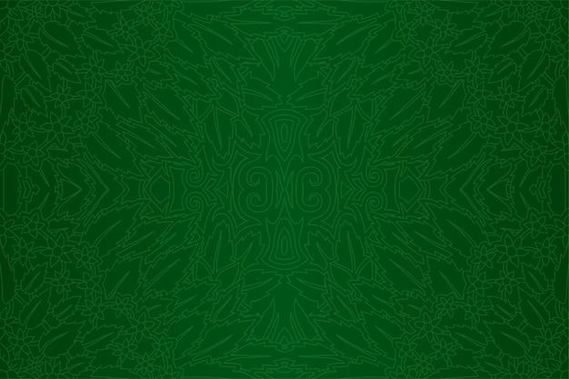 Grüne kunst mit nahtlosem linearem mit blumenmuster