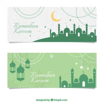 Grüne lampen und moscheen silhouetten banner