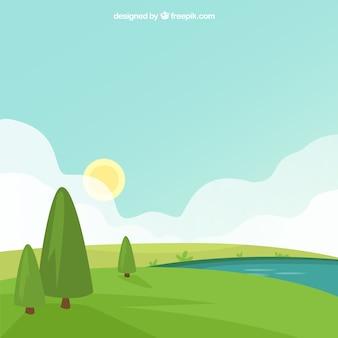 Grüne landschaft hintergrund mit bäumen und fluss
