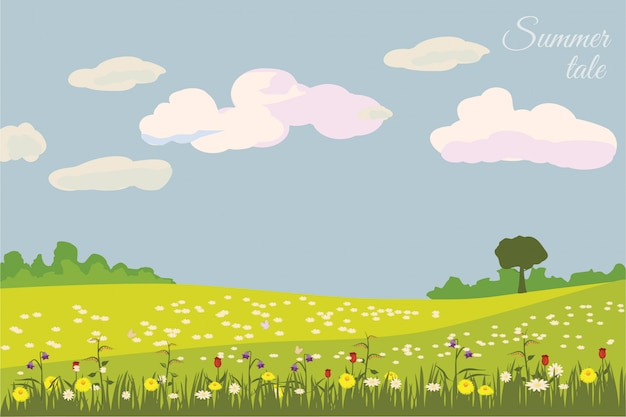 Grüne landschaft mit gelben feldern. schöne ländliche natur. süße landschaft ohne grenzen.