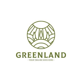 Grüne landschafts-logo-schablone lokalisiert auf weiß