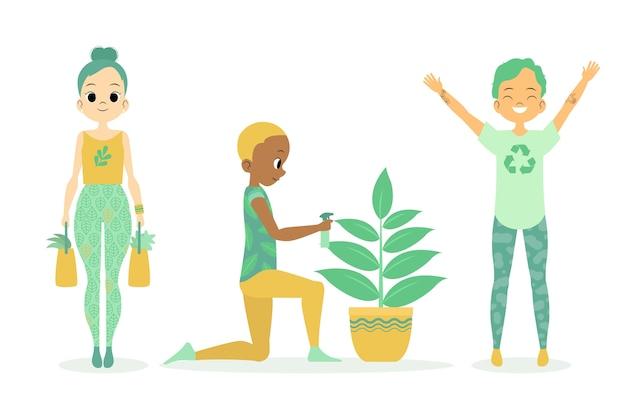 Grüne lebensstilleute und eine zimmerpflanze