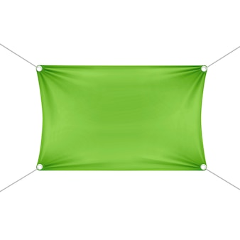 Grüne leere leere horizontale rechteckige fahne mit eckenseilen.