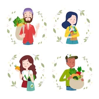 Grüne lifestyle-menschen-auflistung