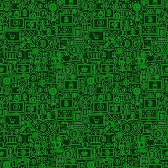 Grüne linie bitcoin-nahtloses muster. vektor-illustration des umriss-fliesen-hintergrundes. finanzielle gegenstände in kryptowährung.