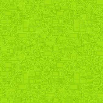 Grüne linie haushalt nahtlose muster. vektor-illustration des umriss-hintergrundes.