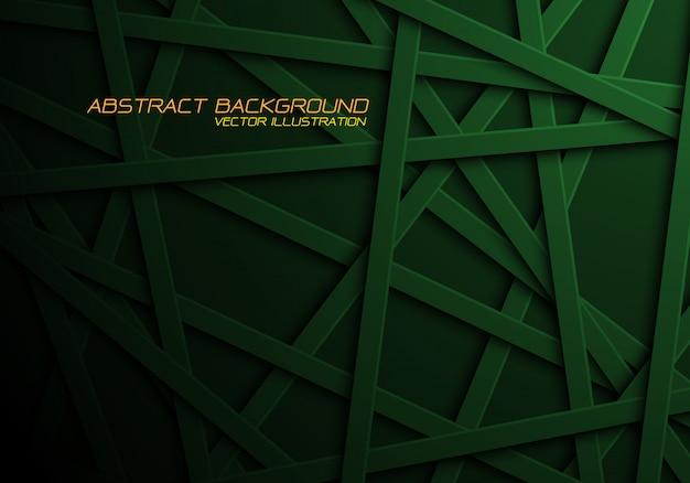 Grüne linie kreuzmusterüberlappung im schwarzen hintergrund.