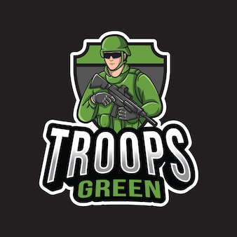 Grüne logo-schablone der truppen