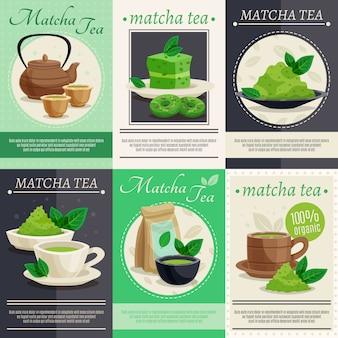 Grüne matcha-tee-fahnen