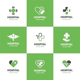 Grüne medizinische und gesundheits-logo-illustrationsschablone, die in kreuz-, herz-, flügelform gesetzt wird