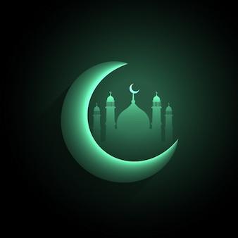 Grüne mondsichel mit moschee hintergrund