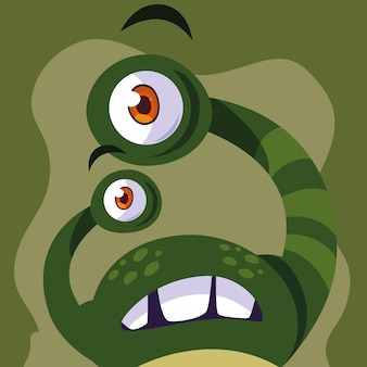 Grüne monster-cartoon