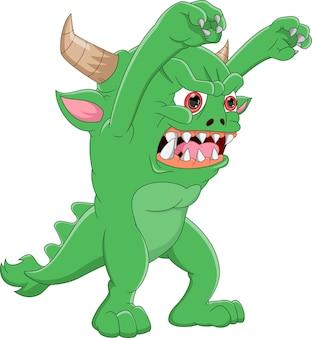 Grüne monsterkarikatur auf weißem hintergrund