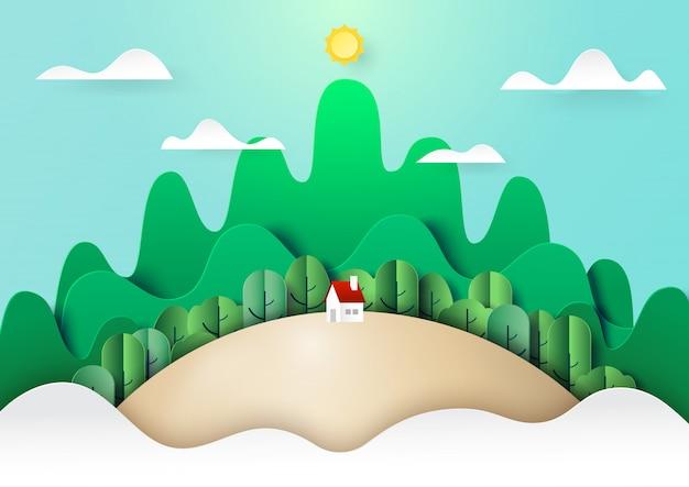 Grüne naturlandschaftskonzeptpapier-kunstart