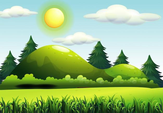 Grüne naturszene im carttoon-stil