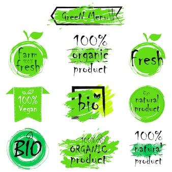 Grüne öko-lebensmittel-etiketten. gesundheitsüberschriften. handgezeichnete vektor-illustration-sammlung.