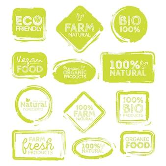 Grüne öko-lebensmitteletiketten. gesundheit überschriften. vektor-illustration-auflistung