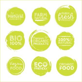 Grüne öko-lebensmitteletiketten. gesundheit überschriften.