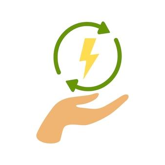 Grüne ökologie erneuern energie zur hand. rotationspfeilsymbol. flache abbildung