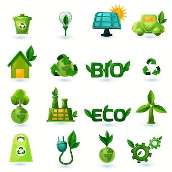 Grüne ökologie icons set