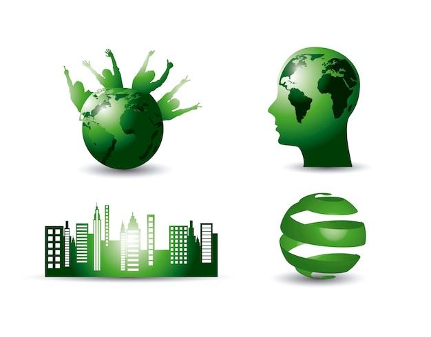 Grüne ökologieelemente mit schattenvektorillustration