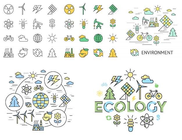 Grüne ökologieikonenansammlung