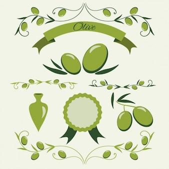 Grüne oliven-abzeichen sammlung