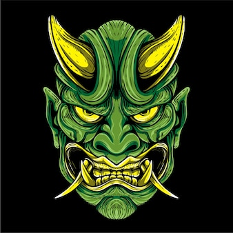 Grüne oni-maske japanische kultur