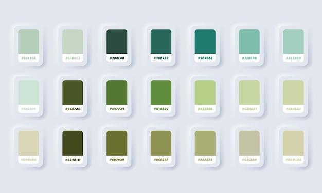 Grüne pastellfarbenpalette. katalogmuster grün in rgb hex. farbkatalog. neumorphic ui ux weiße benutzeroberfläche web-schaltfläche. neumorphismus.