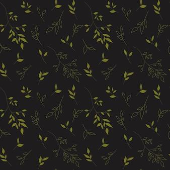 Grüne pflanze von hand gezeichnet auf grauem hintergrund