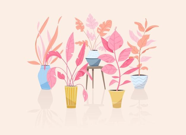 Grüne pflanzen in töpfen objekte topfbäume blumentöpfe hängen styling indoor hausgarten pflanzen blumen zimmerpflanze in innenarchitektur grün im büro