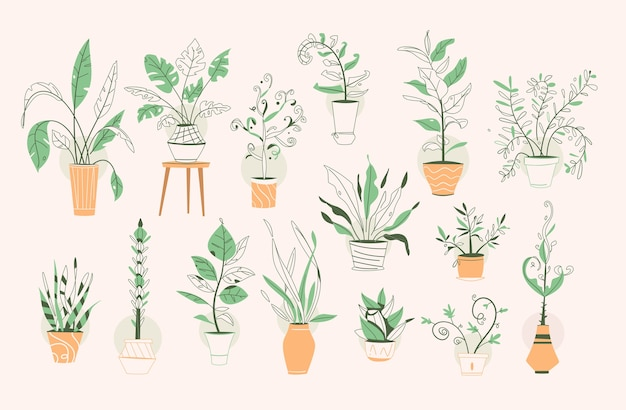Grüne pflanzen in töpfen setzen isolierte objekte. blumenerde, blumentöpfe hängen styling innen. hausgarten, blumen pflanzen, zimmerpflanze in innenarchitektur, grün im büro