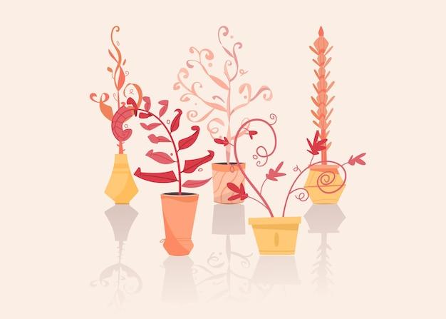 Grüne pflanzen in töpfen setzen isolierte objekte. blumenerde, blumentöpfe hängen styling innen