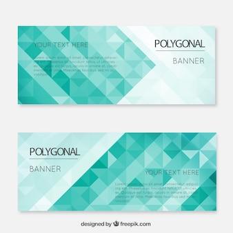 Grüne polygonal banner gesetzt