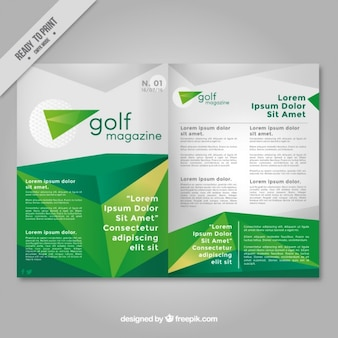 Grüne polygonal magazin über golf