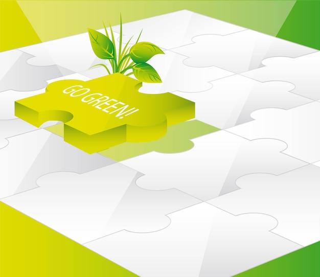 Grüne puzzlespiele mit gehen textvektorillustration grünen
