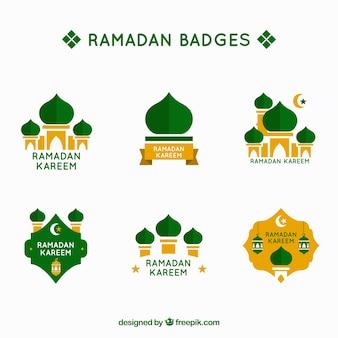 Grüne ramadan-label-sammlung